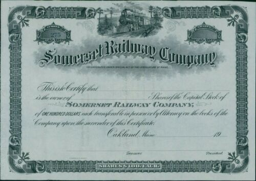 Somerset Railway Company Un-Issued Company Stock Certificate