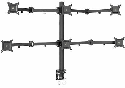 """VIVO Hex LCD Monitor Desk Mount Stand Heavy Duty Adjustable 6 Screens up to 24"""""""