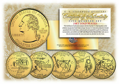 2002 US Statehood Quarters 24K GOLD PLATED ** 5-Coin Complete Set ** (2002 24k Gold Plated)