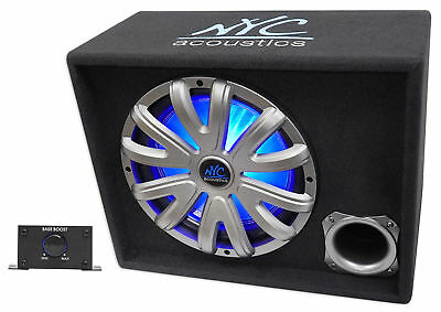"""NYC Acoustics NSE12L 12"""" 1200w Powered/Amplified Car Subwoofer/Sub Enclosure+LED"""