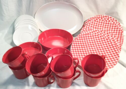VINTAGE ANDOVER MELAMINE DINNERWARE SET ~ GINGHAM RED