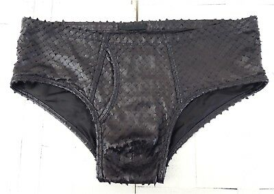 HELMUT LANG 2001 CUT OUT LEATHER BIKINI BRIEF SHORTS , POCKET DETAILED