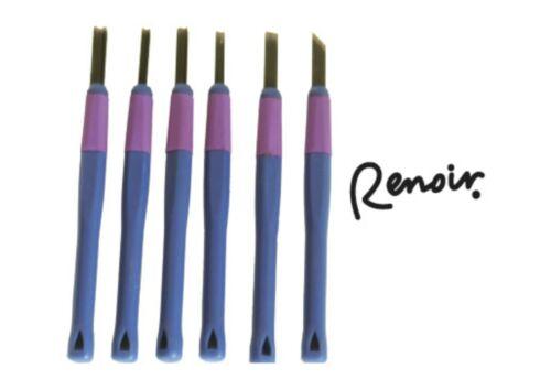 Renoir Delux Lino Carving Tools Set of 6 Easy Rubber Grip Ezy Carve Block