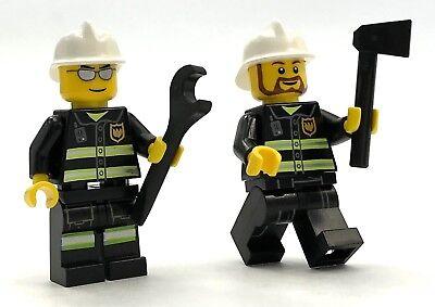 LEGO 2 NEW FIREMEN MINIFIGURES FIGURE MEN PEOPLE FIREFIGHTERS ACCESSORIES - Firefighters Accessories