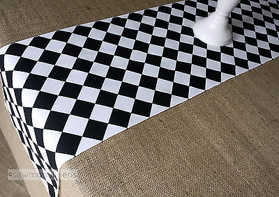 Black and White Table Runner Diamond Harlequin Table Centerpiece Home Decor - Black And White Table Decorations Centerpieces