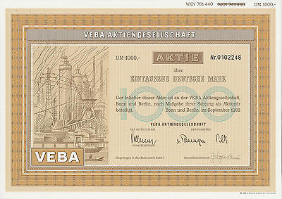 VEBA AG Bonn und Berlin alte DM Aktie 1982 E.on Düsseldorf von Bennigsen Piltz