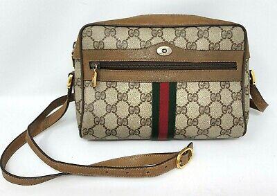 Gucci Ophidia Web Stripe Brown GG Supreme Canvas Leather Cross Body Hand Bag VTG