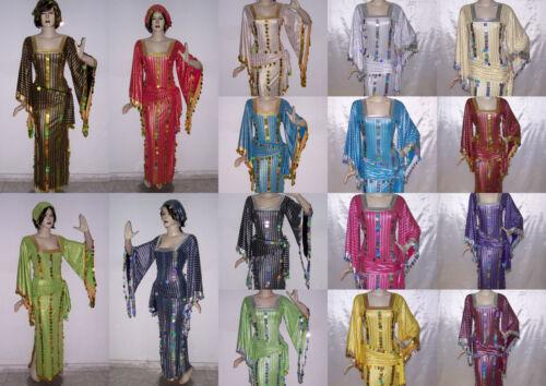 Belly Dance Baladi Galabeya Dress Egyptian Costume Dancing Wear + 2 Scarves T560