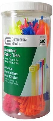 Commercial Electric Cable Tie Canister Assorted 500 Pack Neon Mixed Art