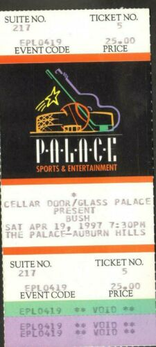 BUSH UNUSED FULL CONCERT TICKET NOT STUB 4/19/97 THE PALACE AUBURN HILLS, MI