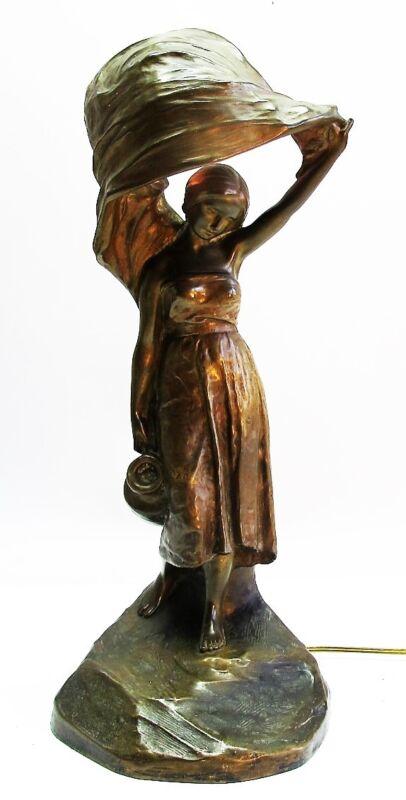 Antique GERMAN ART NOUVEAU BRONZE LAMP  Arthur Rubinstein  c. 1910  Loie Fuller