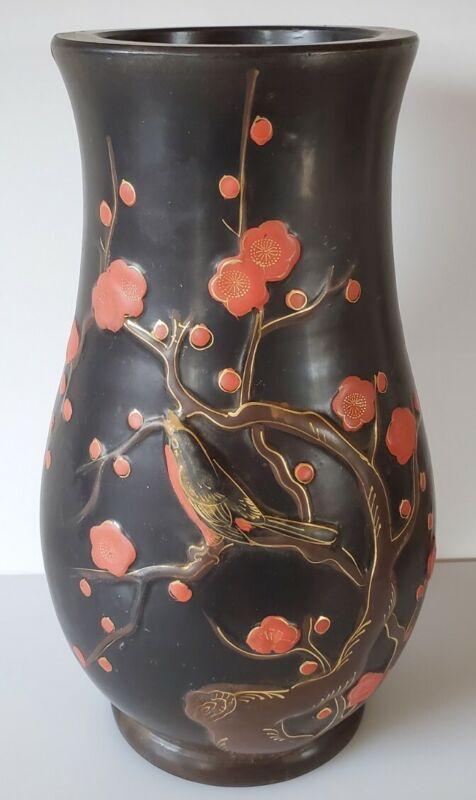 Vintage Japan Vase Black Red Cinnabar Birds Poppies 11.5 Inch