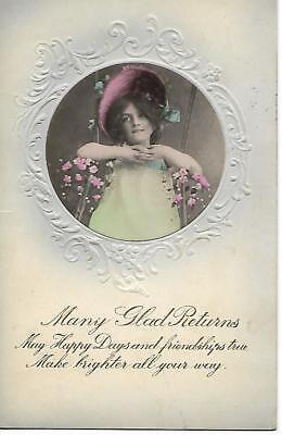 "Vintage Birthday Postcard. ""Many Glad Returns""  Mailed in 1910 Very good order"