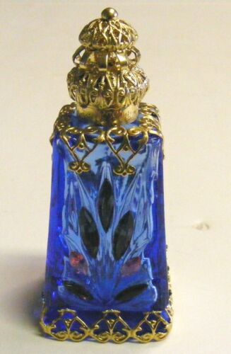 CZECH VICTORIAN DECORATIVE PERFUME/OIL/HOLY WATER BOTTLE COBALT BLUE W/JEWELS