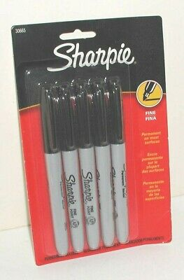 5 Pack Of Sharpie Fine Point Permanent Black Markers Pens Mint In Package 30665