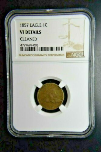 1857 1C Flying Eagle Cent In Very Fine details-NGC VF cleaned