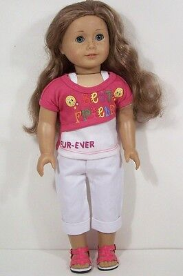 PINK Best Friend Top WHITE Capri Pants Doll Clothes For 18