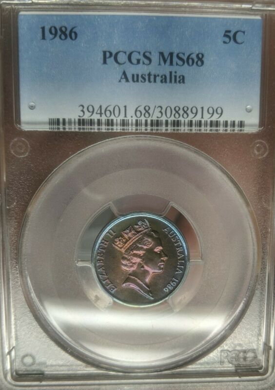 1986 Australia 5 Cents PCGS MS68 Superb Rainbow Gem