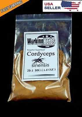 Cordyceps Mushroom - 100% Pure Cordyceps Sinensis Mushroom Extract powder 50:1 1.8 oz. Superfood