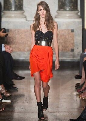 EMILIO PUCCI Black Coral Jeweled Beaded Corset Bustier Dress 40 2 4