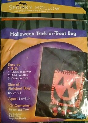Kit to Make a Cute Halloween Trick or Treat Bag..Fleece and Yarn and Instruction - Halloween Trick Or Treat Bags To Make