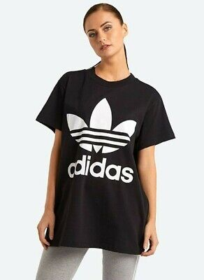 NEW WOMEN'S ADIDAS ORIGINALS BIG TREFOIL TEE SHIRT  ~SIZE LARGE  #CE2436 BLACK