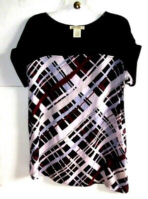 DAVINA 16 BLACK/Wine/Ivory PRINT SCOOP-NECK WOVEN+KNIT TOP Poly/Viscose S/S NWT