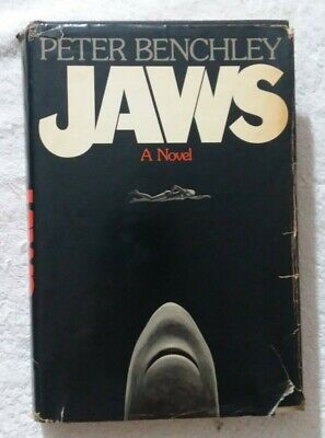 1974 FIRST EDITION PETER BENCHLEY AUTOGRAPHED JAWS A NOVEL BOOK DUST JACKET
