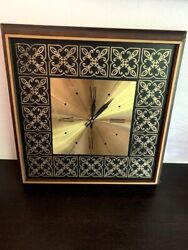 Vintage Elgin  Wood Metal Wall Hanging Square Clock Mid Century Roman Numerals