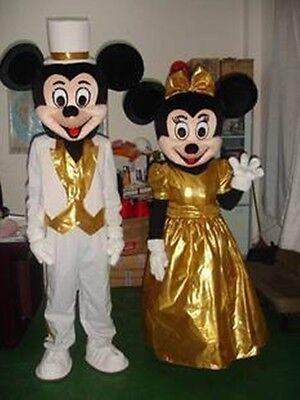 Mickey und Minnie Mouse Maskottchen Kostüm Golden Wedding Dress