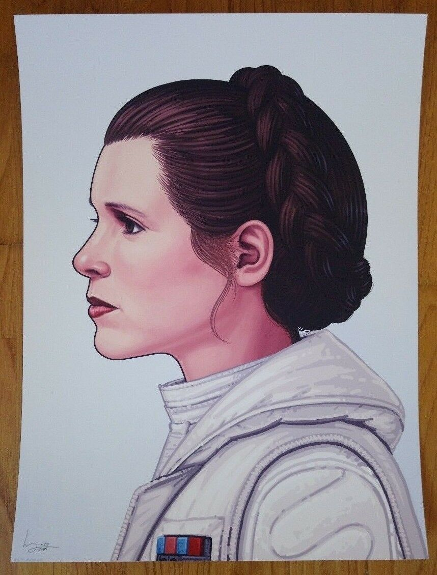 Mondo Mike Mitchell Star Wars Portrait Princess Leia Carrie Fisher Signed Number