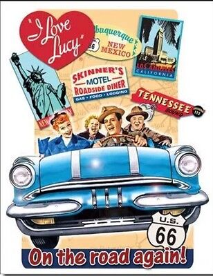 I Love Lucy On Road Metal Tin Sign Retro Vintage Look 1950's TV Show Home Decor