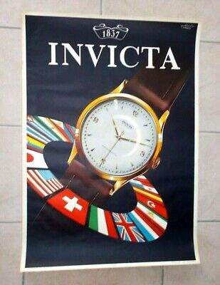 Ancienne affiche vintage - montre INVICTA watch 17 JEWELS ANTIMAGNETIC - 40/50s