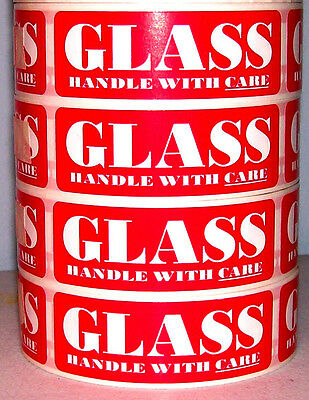 100 1x3 Fragile Glass Handle With Care Label Sticker