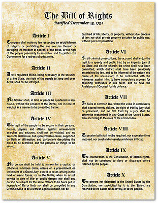 Bill Of Rights Us Constitution   Large Laminated Magnetic Flexible Sign Poster