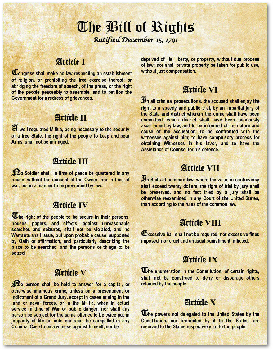 Declarative image in bill of rights printables