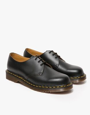 NIB RARE MADE IN ENGLAND DR MARTENS BLACK SMOOTH 3 EYELET SHOES B1461Z SIZE 12