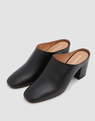 The Reformation Intentionally Blank Black Leather Mules  NWT $275