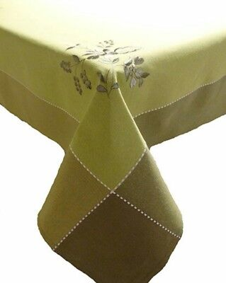"Luxury embroidered tablecloth 140×300cm (55×118""), NEW GREEN"