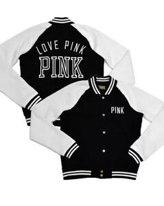 Victoria's Secret LOVE PINK Black White Varsity Jacket medium