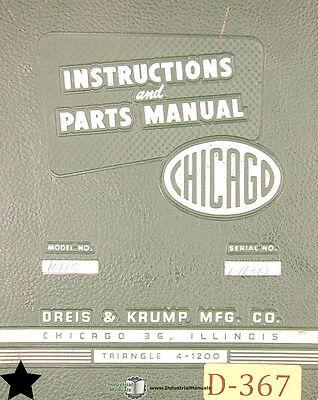 Chicago Dreis Krump 1012c Press Brakes Instructions And Parts Manual 1964