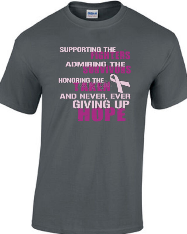 Cancer Awareness Support Fight Colors Type T-Shirts Small Med LG XL 2X 3X 4X 5X