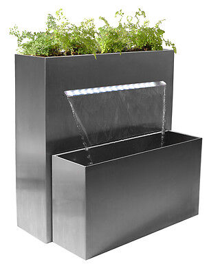 Herb Planter Waterfall Water Feature Fountain Cascade Contemporary Steel Garden