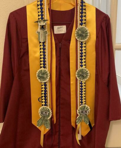 Graduation Money Ribbon Lei (Pick 2: red/gold/blue/white/purple/black/burgundy)