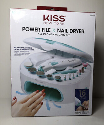 Kiss NY ALL-IN-ONE Nail Care Kit Power File X Nail Dryer For Manicures&Pedicures All In One Dryer