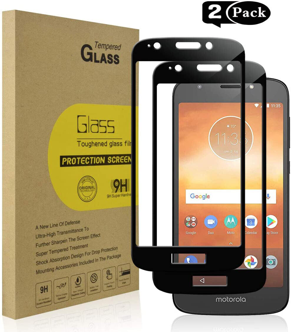 For Motorola Moto E5 Play FULL COVER Coverage Tempered Glass Screen Protector 9H Cell Phone Accessories
