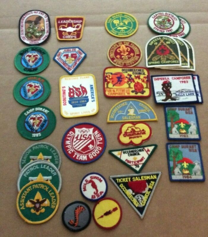 Lot of 30 Vintage Boy Scout Patches BSA Camporees Occoneechee Impesa Dan Beard