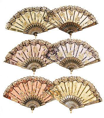 Flower Fan (Vintage Look Rose Flower Lace Handheld Folding Fan For Dancing, Parties -)