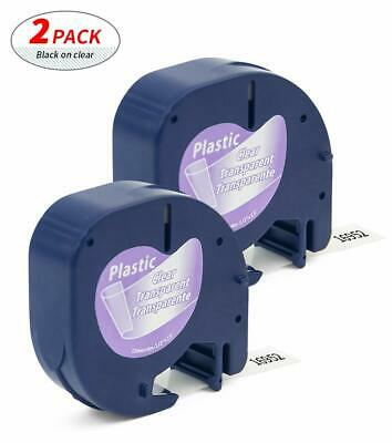 2 Pk Lt 16952 Compatible For Dymo Letratag Clear Plastic Label Tape Lt100h 12