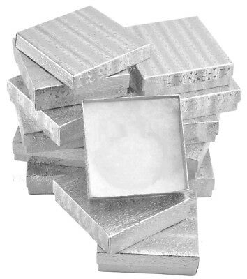 Lot Of 12 Silver Cotton Filled Boxes Jewelry Gift Boxes Bracelet Boxes 3.5x3.5